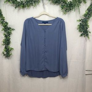 APT. 9 Periwinkle Balloon Sleeve Button Up Blouse